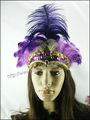 Hot venda de dança roxo Headwear carnaval Headpiece Tiaras indiano pena mantilha