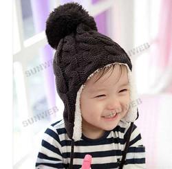 5 colors Baby Stripe Plus Velvet Children Ear Caps Children Knitted Hats Winter Kids baby hat Wool Cap Baby Earflap Cap 18006