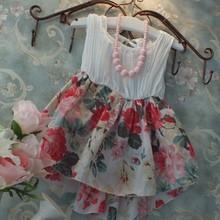 Korean fashion summer long dress kids boutique flower girls flower dress(M20390A)