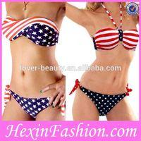 Wholesale Flag Printed Lady Sex Hot Bikini