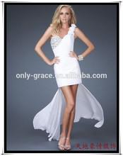 Floral one shoulder white chiffon Detachable trailing short front long back prom dress GL0199