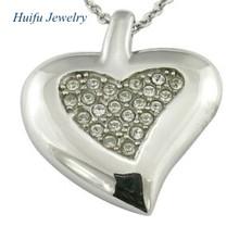 metal steel heart necklace charms inside