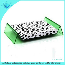 comfortable and recycled materials green acrylic pet bed for litter animal
