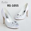 Hand-sewing beads peep toe bridal wedding shoes China