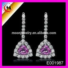 ALIBABA FANCY DESIGN GOLD EARRING INITIAL ELEGANT AMETHYST EARRING AMETHYST AND DIAMOND GOLD EARRING