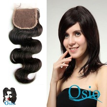 DHL Free shipping Top Closure 4''x4'' (H/L) Can be dyed and Bleached 100% Brazilian Virgin Hair Hand Tied Free Part Lace Closure