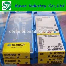 High Density CNC Machine uncoated diamond tungsten carbide tipped korloy insert DCGT070204 AK H01
