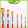 BQAN 6 Pcs Double-colored Wood Handle Painting Brush Design Flat Nylon Hair Shape Brush Set
