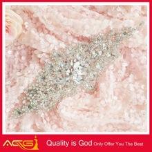 Leaf rhinestone patch Feather rhinestone applique lastest crystal beaded garment accessories fashion belt buckle