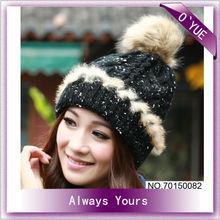 Lady Fashion Cute Black Knit Ski Cap