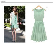 Fashion Women's Sleeveless Mint Green Pleated Chiffon Casual Party Lolita Tank Vest Mini Dress With belt G0170