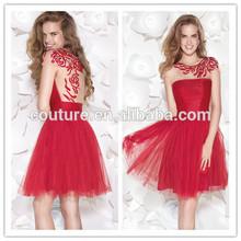 nueva moda de las señoras cuello redondo de manga corta de tul rojo de cuentas hasta la rodilla 2015 tarik ediz 90408 vestido de verano