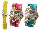 Aliexpress hot selling love diamond leather strap vintage women bracelet watch