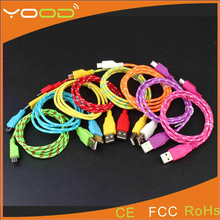 OEM/ODM healthy material yellow Weave V8 usb cable
