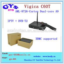 android IPTV + DVB-T2 set top box Vigica C60T IPTV + DVB-T2 smart tv box C60t receover
