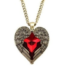Angel Wings Red Heart Pendant Necklace