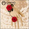 eleganti signore rosa rossa nappa catena dito bracciale con anello