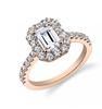 Classic emerald cut halo diamond engagement ring