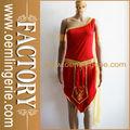 rojo asimétrico de fantasía sexy vestido de traje de cleopatra