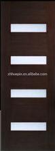 hot sales flush glass insert solid wood door