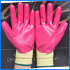nylon coated oil resistant nitrile gloves red