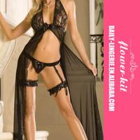 Most beautiful newest fashion sex hot black satin lingerie babydolls