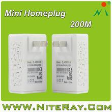 200Mbps homeplug av powerline adaptor for home network communication for Home/Office/Hotel