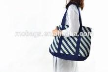 big size fashion stripe style cotton eco-friendly shopping tote bag