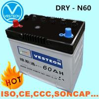 12V dry charged car battery N60 N90 N120 DIN88 DIN55