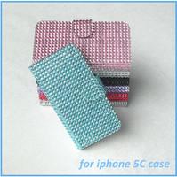 Diamond+PU leather+ TPU Full Diamond Leather Protector Phone Case for iphone 5C case
