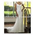 Novo estilo elegante e requintado sereia encantadora fora- a- ombro sweep trem satin chiffon do laço vestido de noiva para noiva/brida