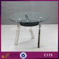 c175 redonda tampo de vidro mesa de jantar metal base