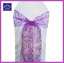 Purple Embroidered Banquet Chair Sash