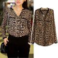fanshou 2014 blusa de las mujeres de primavera y verano tops de gasa blusa de gasa manga larga de leopardo de impresión de las mujeres camisa 5597