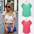 fanshou 2014 blusa de las mujeres de primavera y verano de moda de encaje de ganchillo tapas hueco fuera de encaje de la señora camisa blusa de encaje 5524