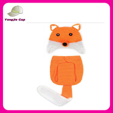 Toddler High Quality Custom Handmade baby children Crochet Baby Fox Hat with earflaps and Diaper Cover- Photo props Wholesale