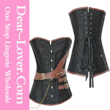 Sexy Steampunk Boned Corset with Leather Strap