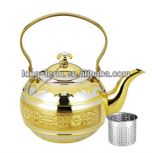 LTK067C Golden stainless steel moroccan teapot with strainer