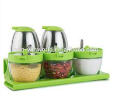 Stainless Green Custom Glass Oil Vinegar Cruet Set Salt And Pepper Cruet
