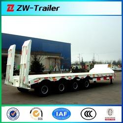 Hot sale 45T flat bed/lowboy truck trailer for transport crane/excavator/transformer
