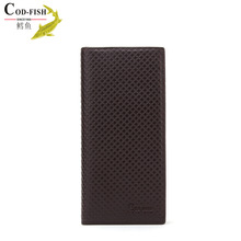 2014 hot selling high quality branded vertical long type purse shop free sample leather wallet buyers