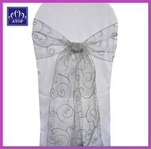 Silver Chair Decoration Tie Organza Sash With Embroidery