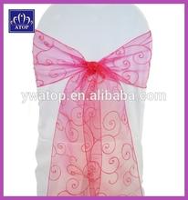 Fuchsia Wedding Decoration Organza Sash With Embroidery