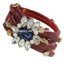Red leather wrap bracelets with eye shaped rhinestone,custom leather bracelets