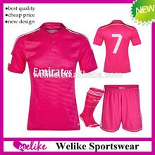 New season real madrid pink jersey set wholesale hot club team football t shirt short socks guangzhou jersey hot sale