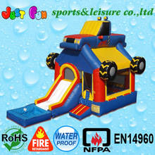 wet or dry monster truck combo with pool,inflatable slide bouncer,inflatable combo bouncer