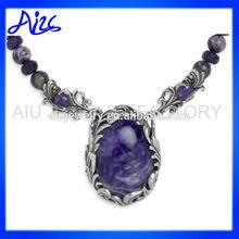 Charolite All Purple Pendant Necklace