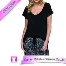 High quality 65% cotton 35% polyester wide v neck black t-shirt fashion teen clothing