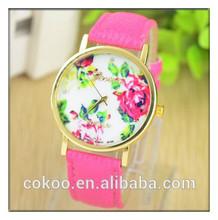 2014 new fashion leather rose geneva flower watch women look stylish dress quartz watch orologio yes polso