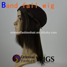 Wholesale cheap 18 inch natural color European hair 3/4 wig Jewish Kosher human hair band fall wig